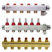 Коллекторы и смесительные узлы для гидравлического теплого пола Danfoss