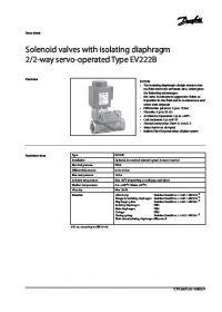 Data Sheet Solenoid valves with isolating diaphragm 2-2 way servo operated Type EV222B (Технічний паспорт).pdf